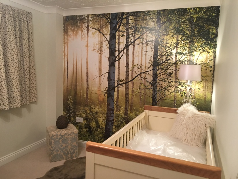 Used Oak Furniture land Cot and Woodland wall Vinyl