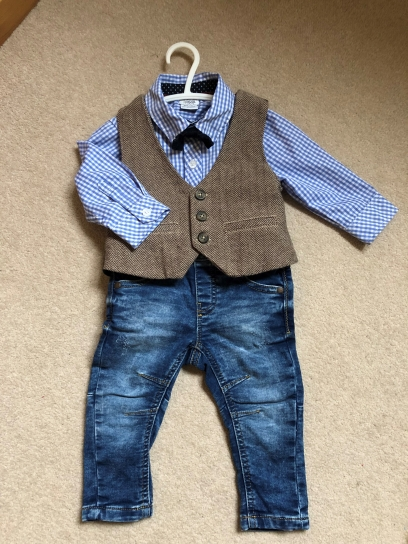 Used Mamas & Papas Shirt, Waistcoat & Bow tie paired with Next Jersey Jeans