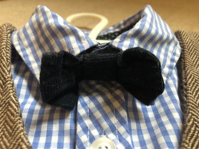 Used Mamas & Papas Navy Cord Bow Tie and Blue Check Shirt