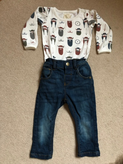 Pigeon Organics Vikings Vest & NEXT Jeans